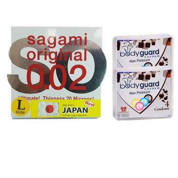 کاندوم ساگامی مدل لارج به همراه کاندوم بادی گارد مدل مکس پلژر مجموعه 2 عددی