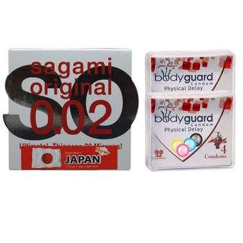 کاندوم ساگامی مدل نرمال به همراه کاندوم بادی گارد مدل دیلی مجموعه 2 عددی