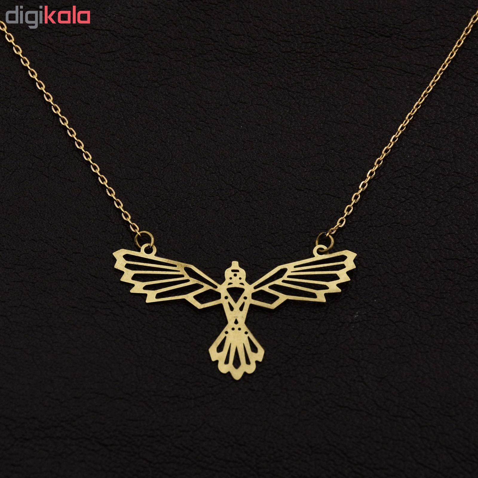 گردنبند طلا 18 عیار نه آمانژ طرح پرنده کد 685D3095