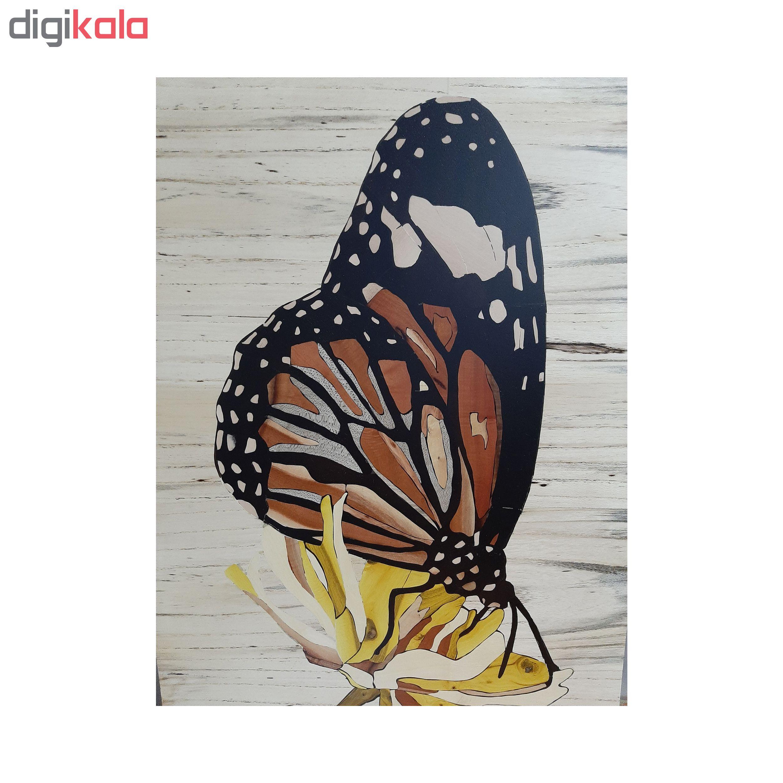 تابلو معرق کاری طرح گل و پروانه کد 20
