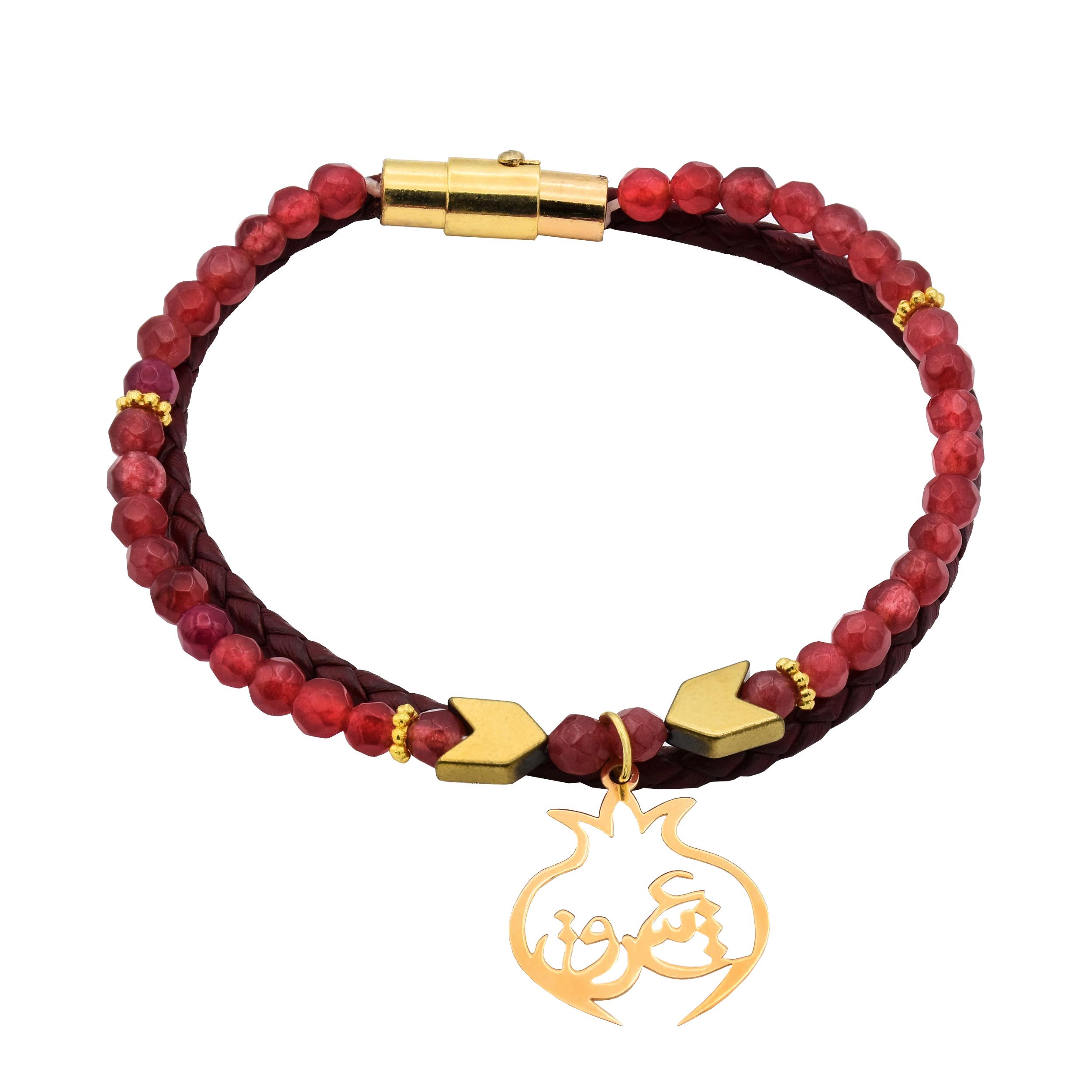 دستبند طلا 18 عیار زنانه آمانژ طرح عشق کد 714D3123