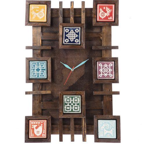 ساعت دیواری گالری اسعدی مدل چوب و سفال طرح زمینه ساده