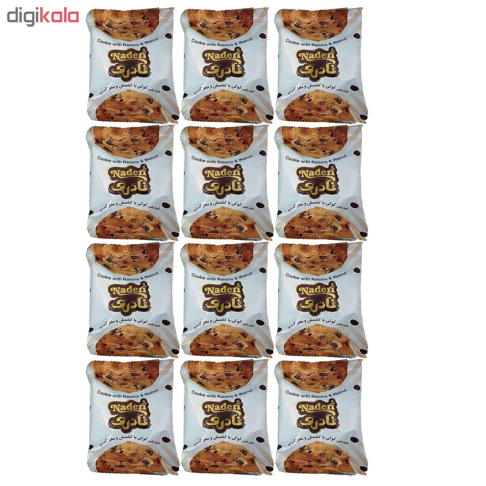 شیرینی کوکی با کشمش و مغز گردو نادری مقدار 40 گرم بسته 12 عددی main 1 2