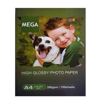 کاغذ چاپ عکس گلاسه مگا مدل PHG-260 سایز A4 بسته ۱۰۰ عددی