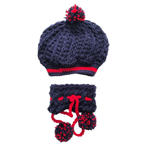 ست کلاه و شال گردن بافتنی دخترانه کد 100