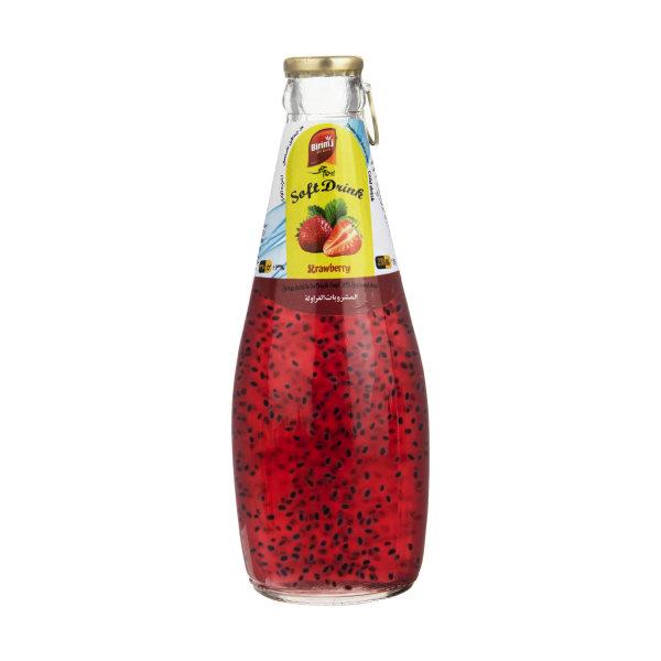 نوشیدنی تخم ریحان با طعم توت فرنگی بیریم جی - 290 میلی لیتر