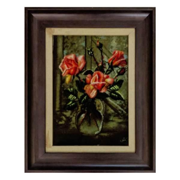 تابلو فرش دستباف طرح گل رز گلدان شیشه ای کد 9810076