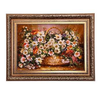 تابلو فرش دستبافت طرح گل عرضي كد ١١١١