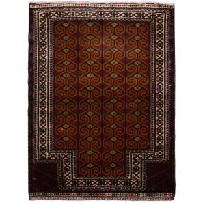فرش دستبافت قدیمی یک متری طرح ترکمن کد 7151