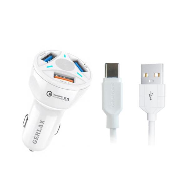 شارژر فندکی جرلکس مدل GC-06 به همراه کابل تبدیل USB-C