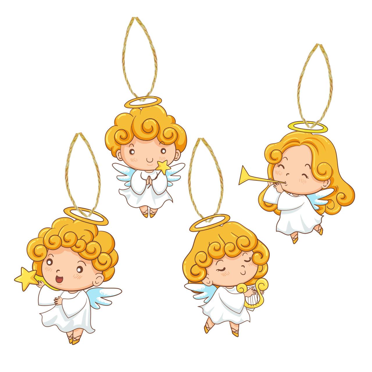 آویز اتاق کودک طرح فرشته ها مجموعه ۴ عددی