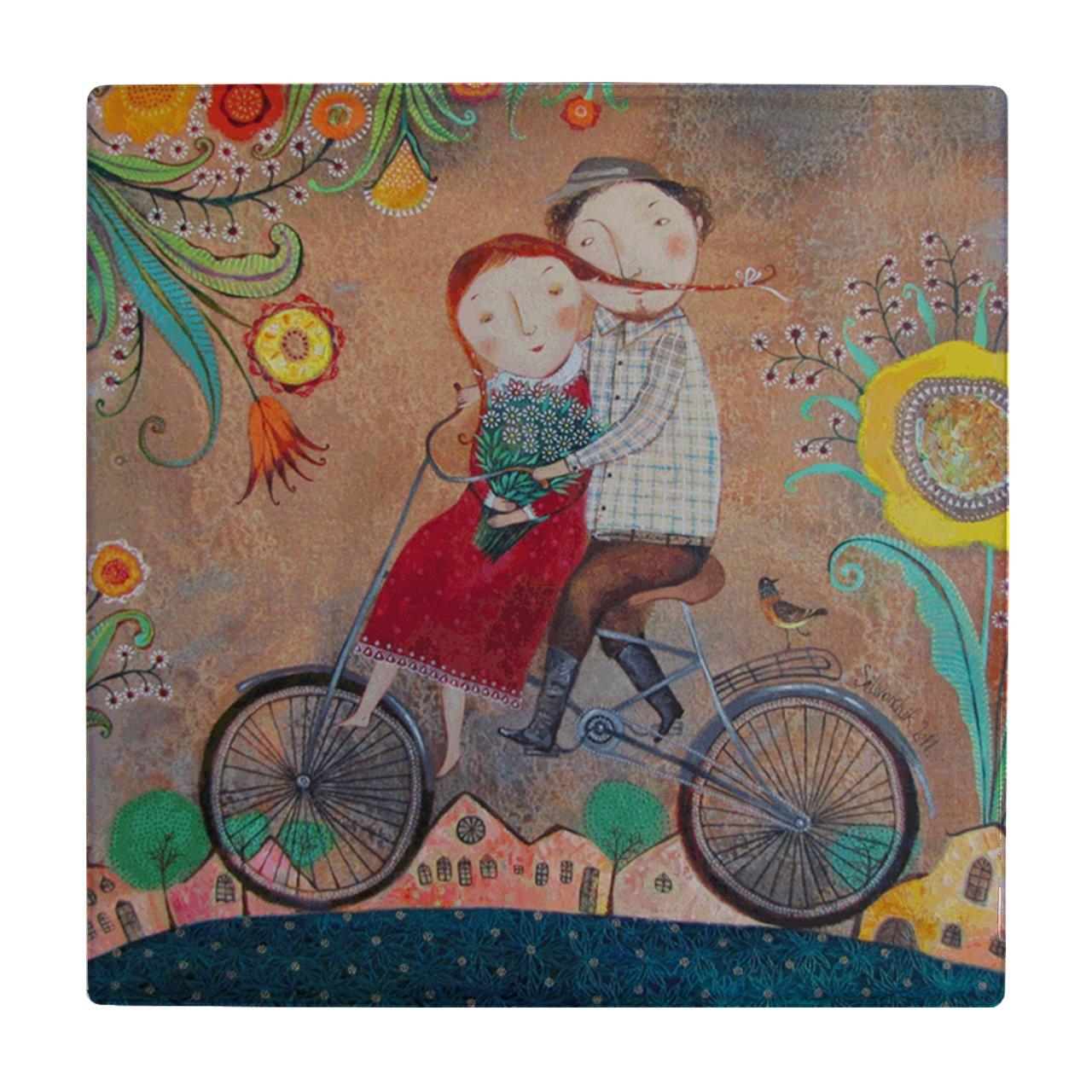 عکس کاشی طرح عشاق دوچرخه سوار کد wk108