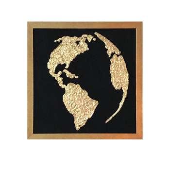 تابلو نقاشی ورق طلا طرح کره کد 12006