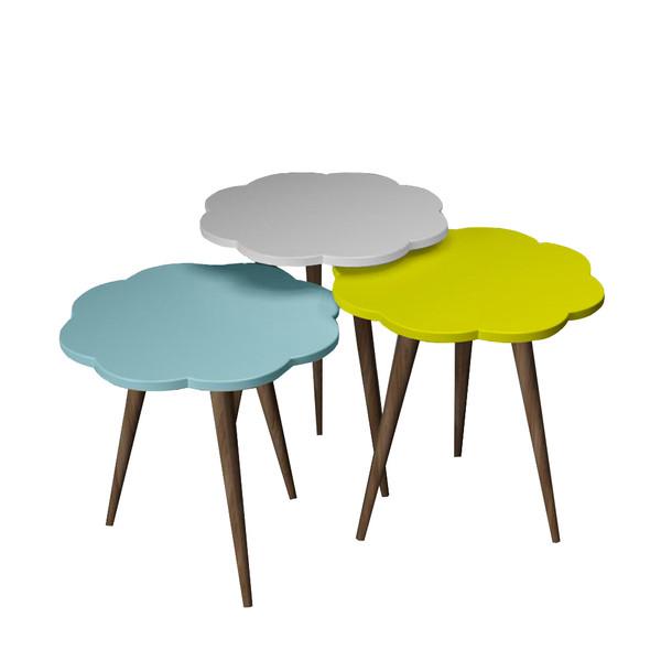 میز عسلی طرح گل کد 14 مجموعه 3 عددی