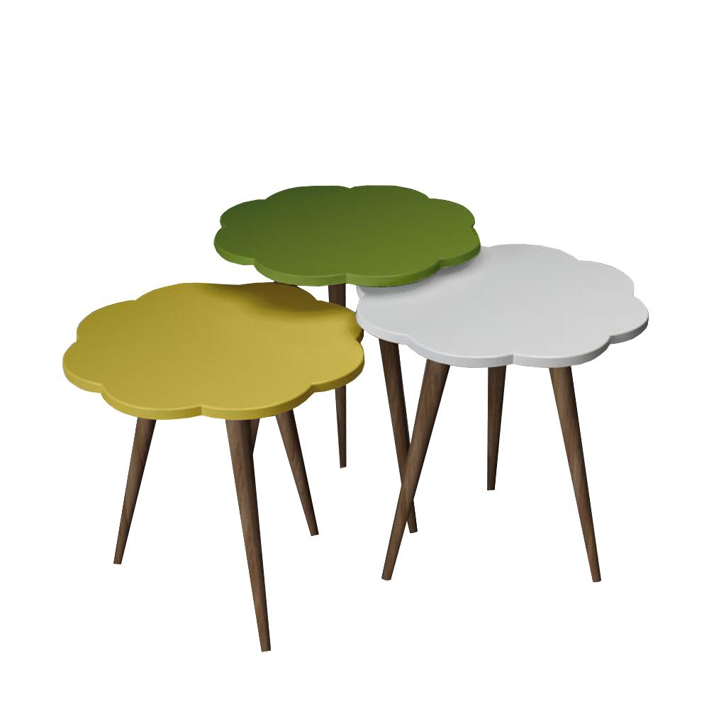میز عسلی طرح گل کد 16 مجموعه 3 عددی