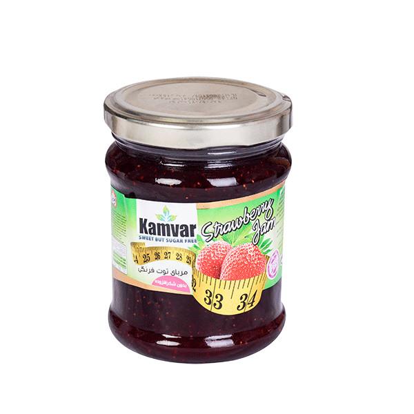 مربا بدون قند توت فرنگی کامور مقدار ۲۹۰ گرم