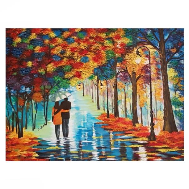 تابلو نقاشی رنگ روغن طرح پاییز کد P22