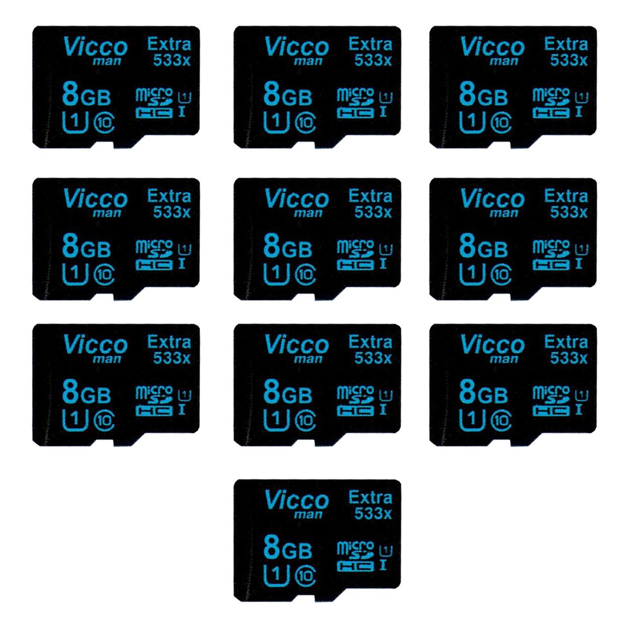 کارت حافظه microSDHC ویکو من مدل Extre 533X کلاس 10 استاندارد UHS-I U1 سرعت80MBps ظرفیت 8 گیگابایت بسته 10عددی