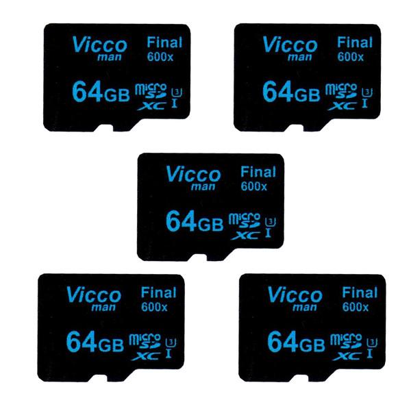 کارت حافظه microSDXC ویکومن مدل Final 600x کلاس 10 استاندارد UHS-I U3 سرعت90MBps ظرفیت 64 گیگابایت بسته 5 عددی