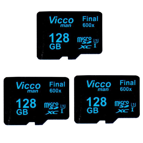 کارت حافظه microSDXC ویکومن مدل Final 600x کلاس 10 استاندارد UHS-I U3 سرعت90MBps ظرفیت128 گیگابایت بسته 3 عددی