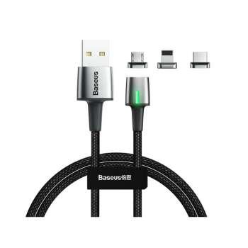 کابل تبدیل USB به لایتنینگ/microUSB/USB-C باسئوس مدل TZCAXC طول 1 متر