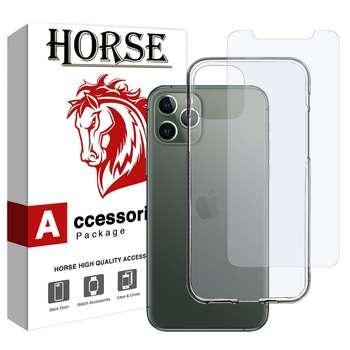 کاور هورس مدل BLK مناسب برای گوشی موبایل اپل iPhone 11 Pro Max به همراه محافظ صفحه نمایش هورس مدل UCC