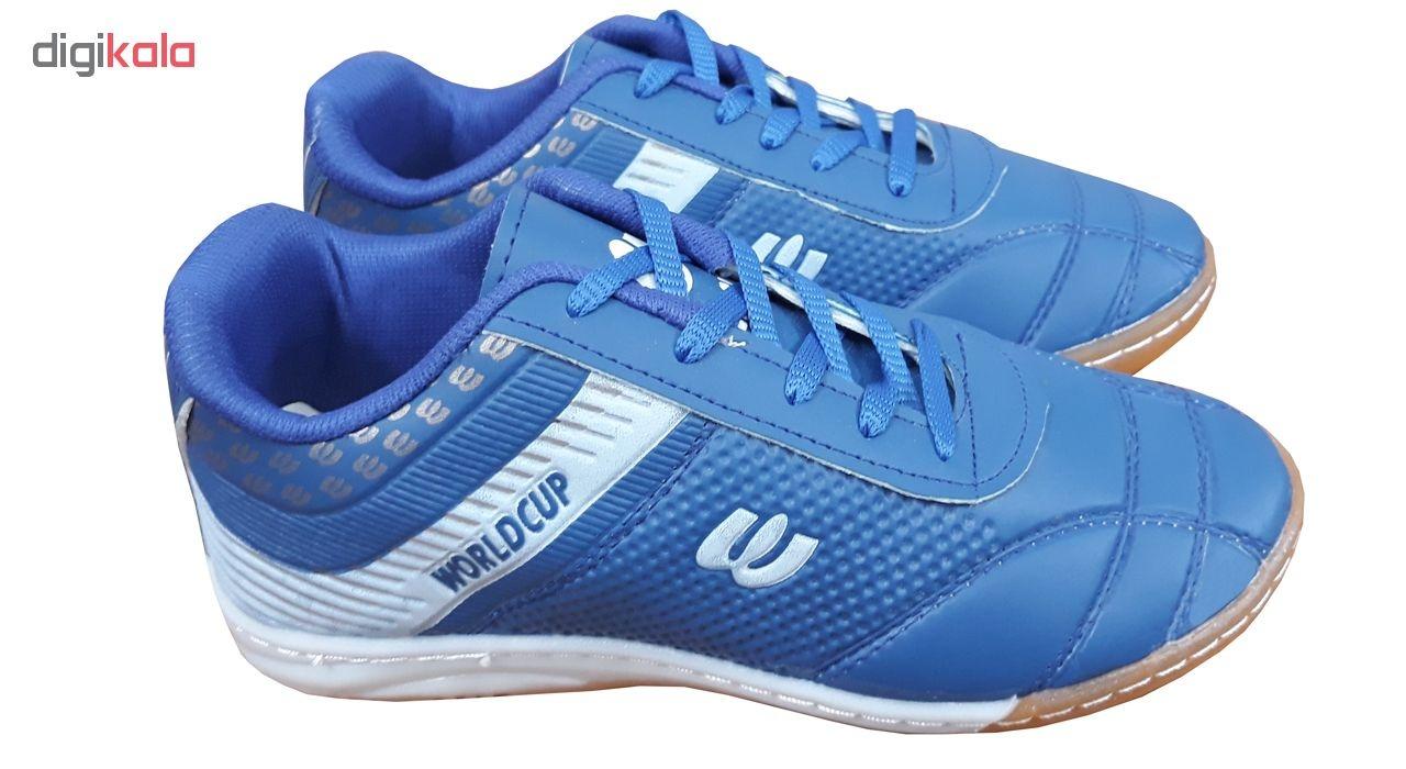 کفش فوتسال مردانه و پسرانه مدل WORLDCUP BLUE                     غیر اصل