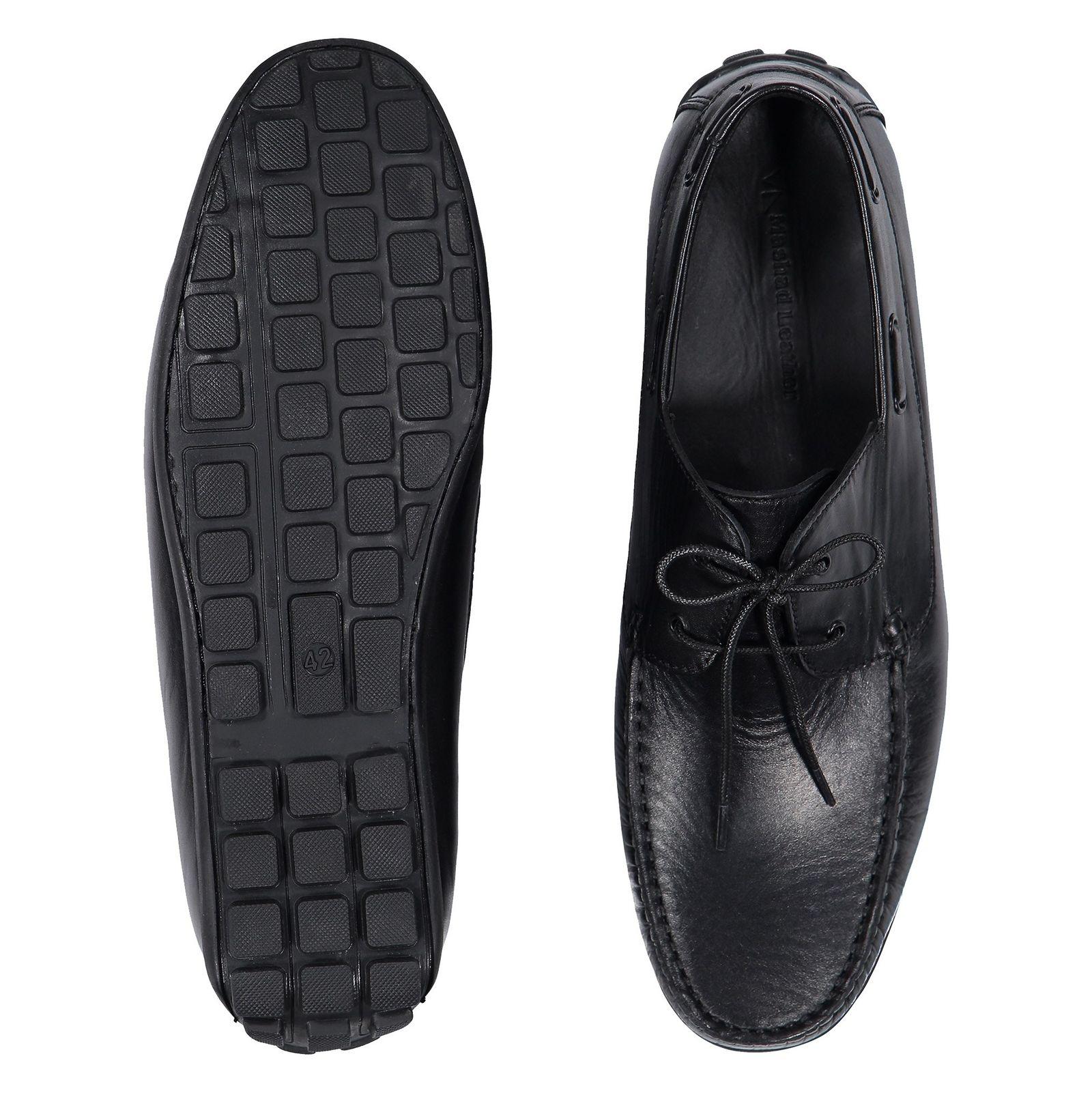 کفش اداری چرم مردانه - چرم مشهد - مشکي       - 2