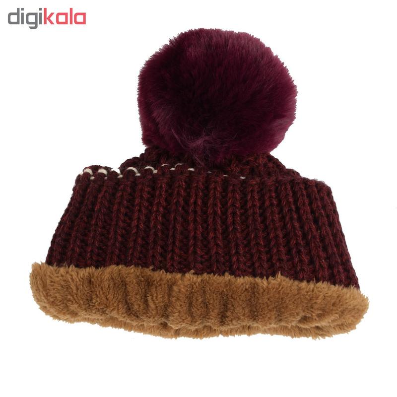 ست کلاه و شال گردن بافتنی دخترانه مدل D02142