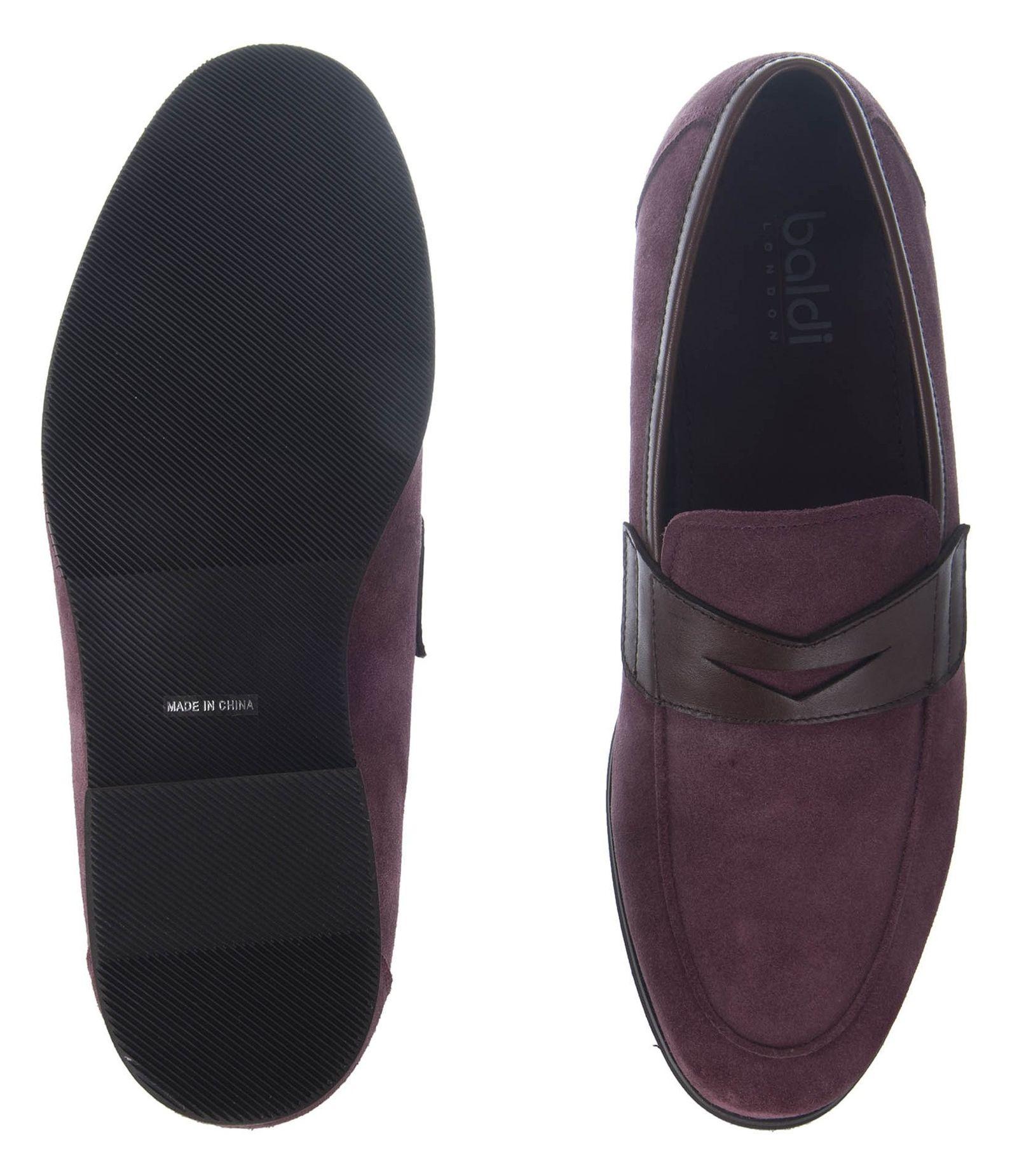 کفش چرم راحتی مردانه - بالدی - زرشکي - 4
