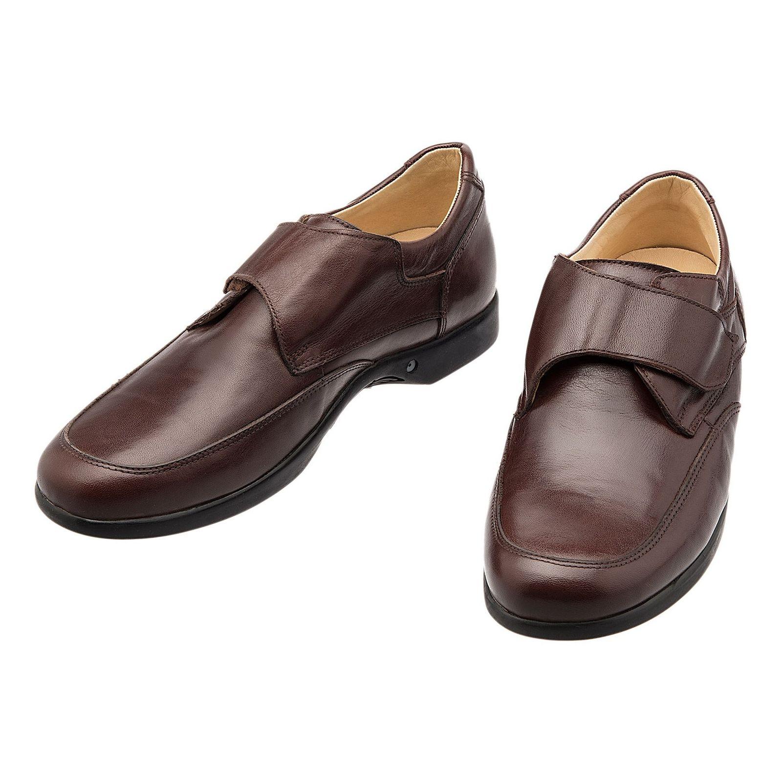 کفش اداری چرم مردانه - شهر چرم - قهوه اي - 4