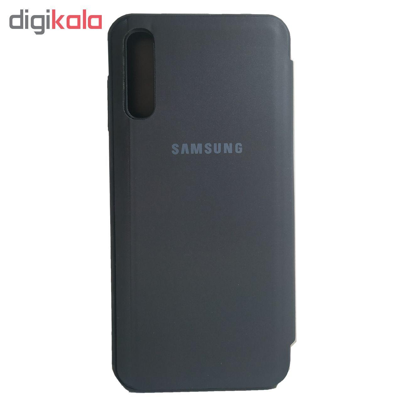 کیف کلاسوری مدل Clear View Standing مناسب برای گوشی موبایل سامسونگ Galaxy A70