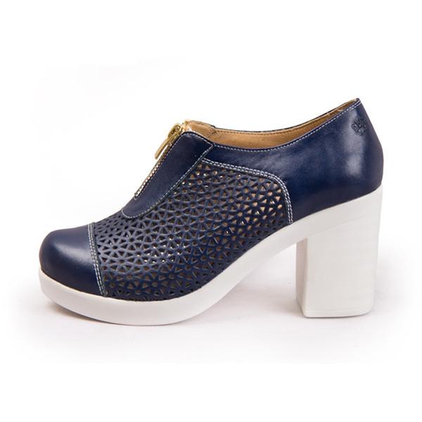 کفش زنانه چرم طبیعی پاندورا مدل w303 سرمه ای