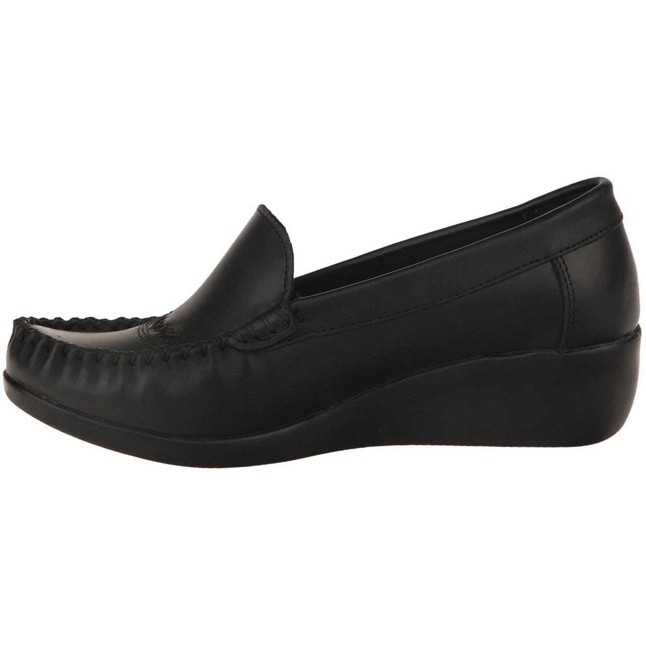 تصویر کفش چرم طبی زنانه آفتاب مشکی مدل 004