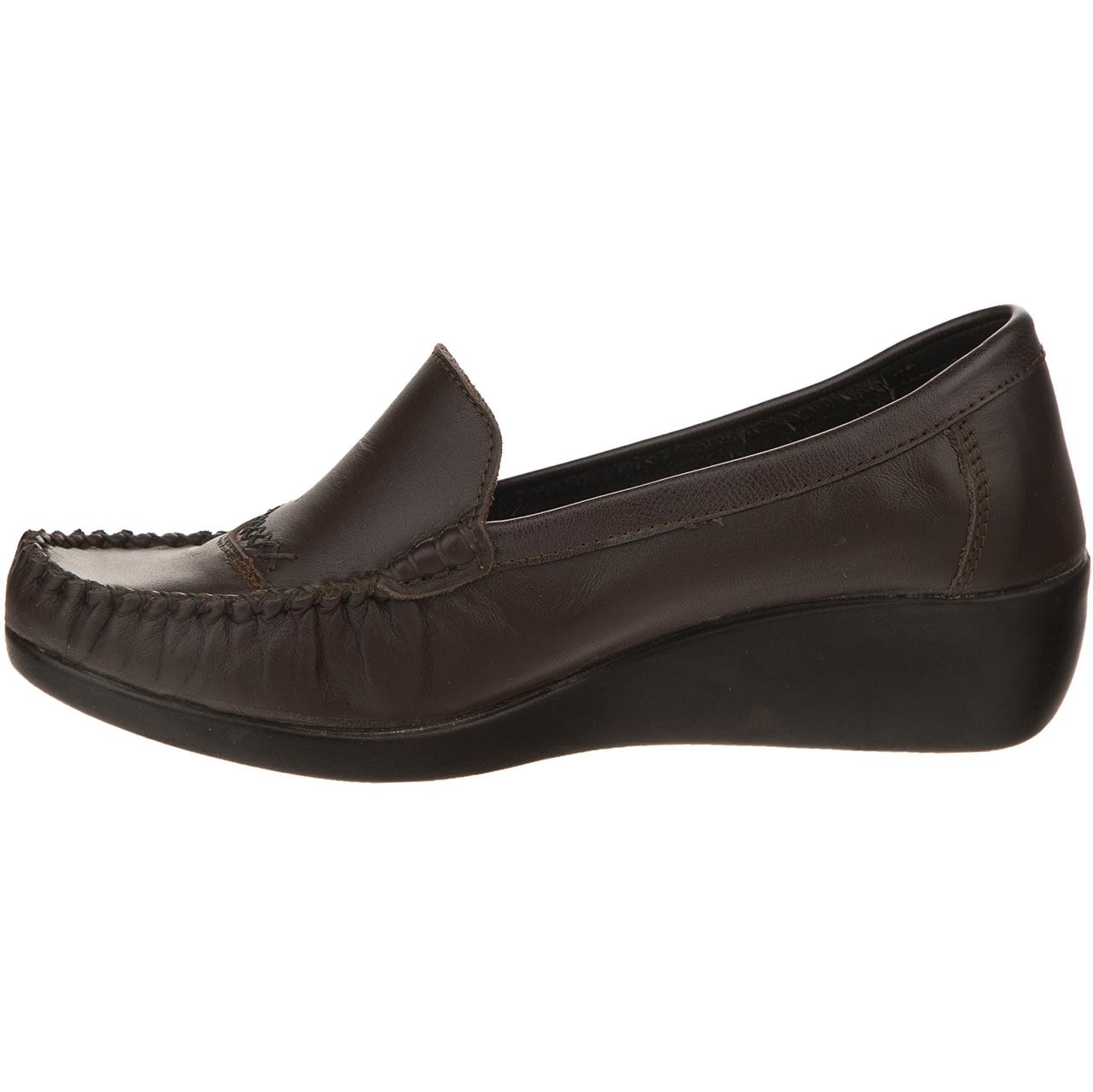 کفش چرم زنانه آفتاب قهوه ای مدل 005