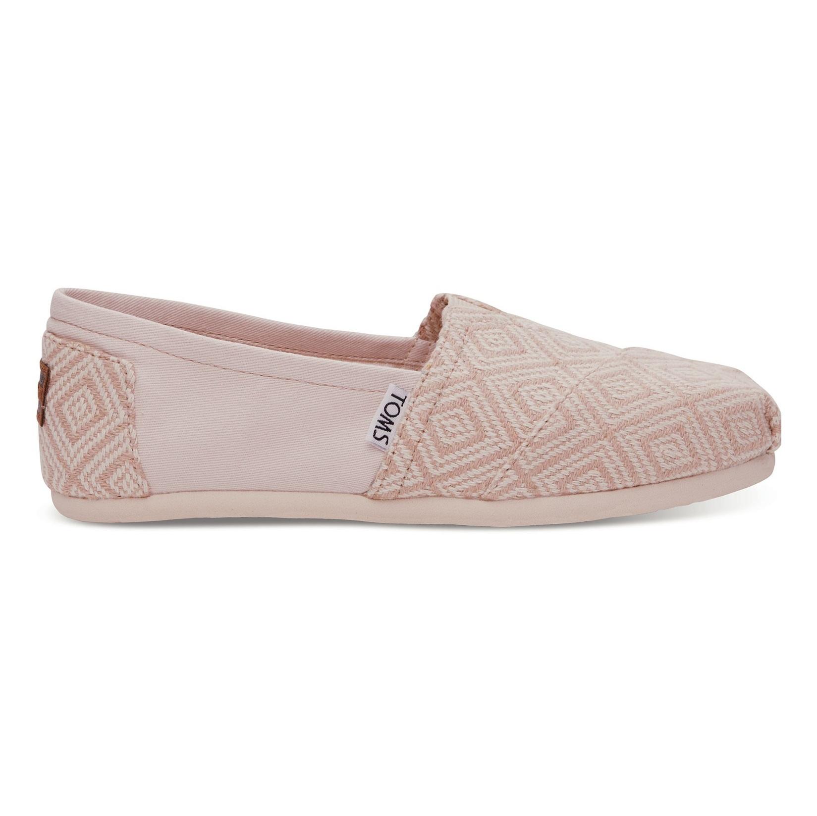 کفش تخت نخی زنانه - تامز - کرم روشن بافت دار - 1