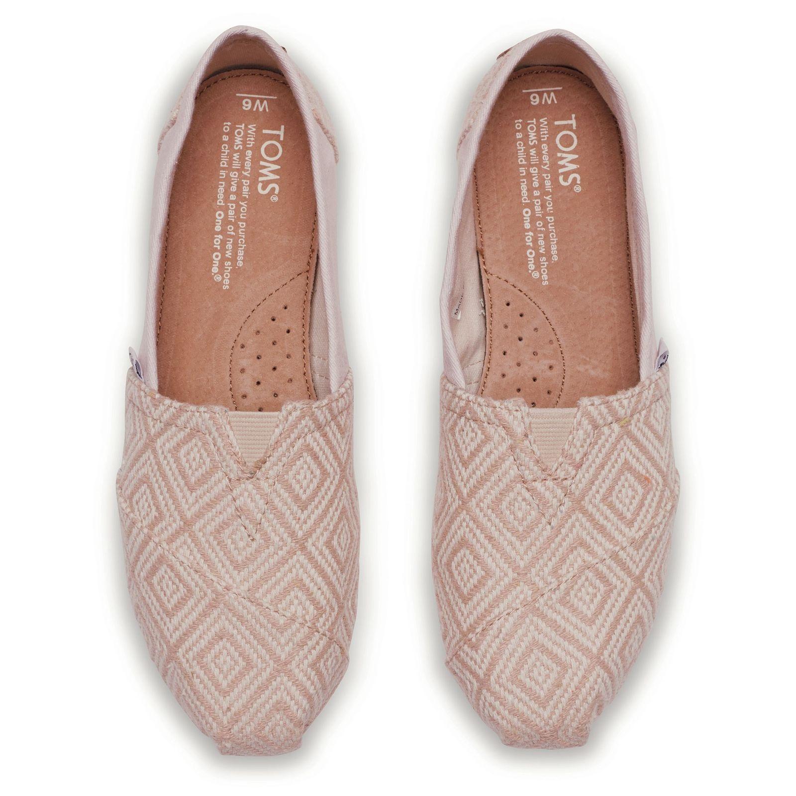 کفش تخت نخی زنانه - تامز - کرم روشن بافت دار - 2