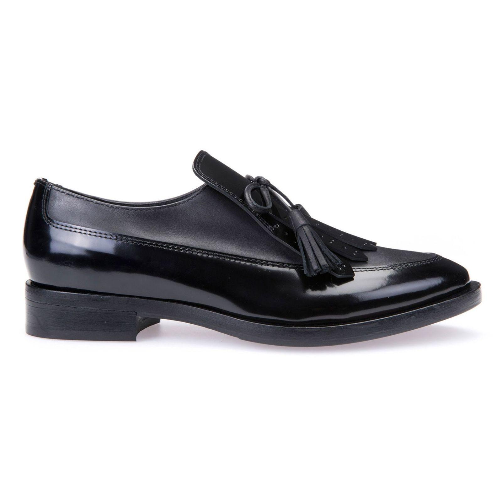 کفش تخت چرم زنانه - جی اوکس - مشکي - 1