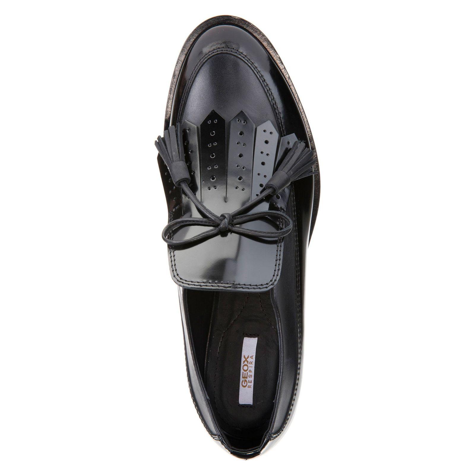 کفش تخت چرم زنانه - جی اوکس - مشکي - 2