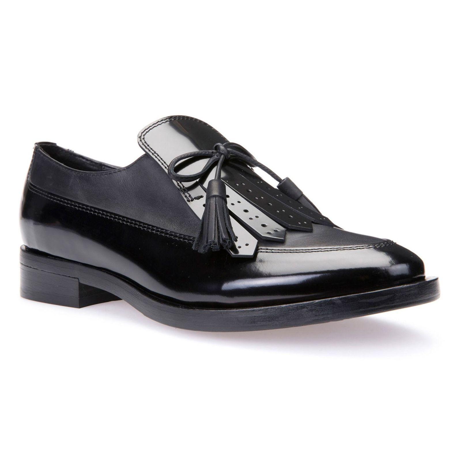 کفش تخت چرم زنانه - جی اوکس - مشکي - 3