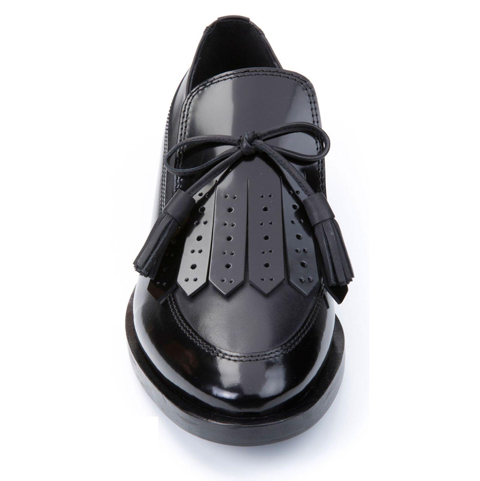 کفش تخت چرم زنانه - جی اوکس - مشکي - 4