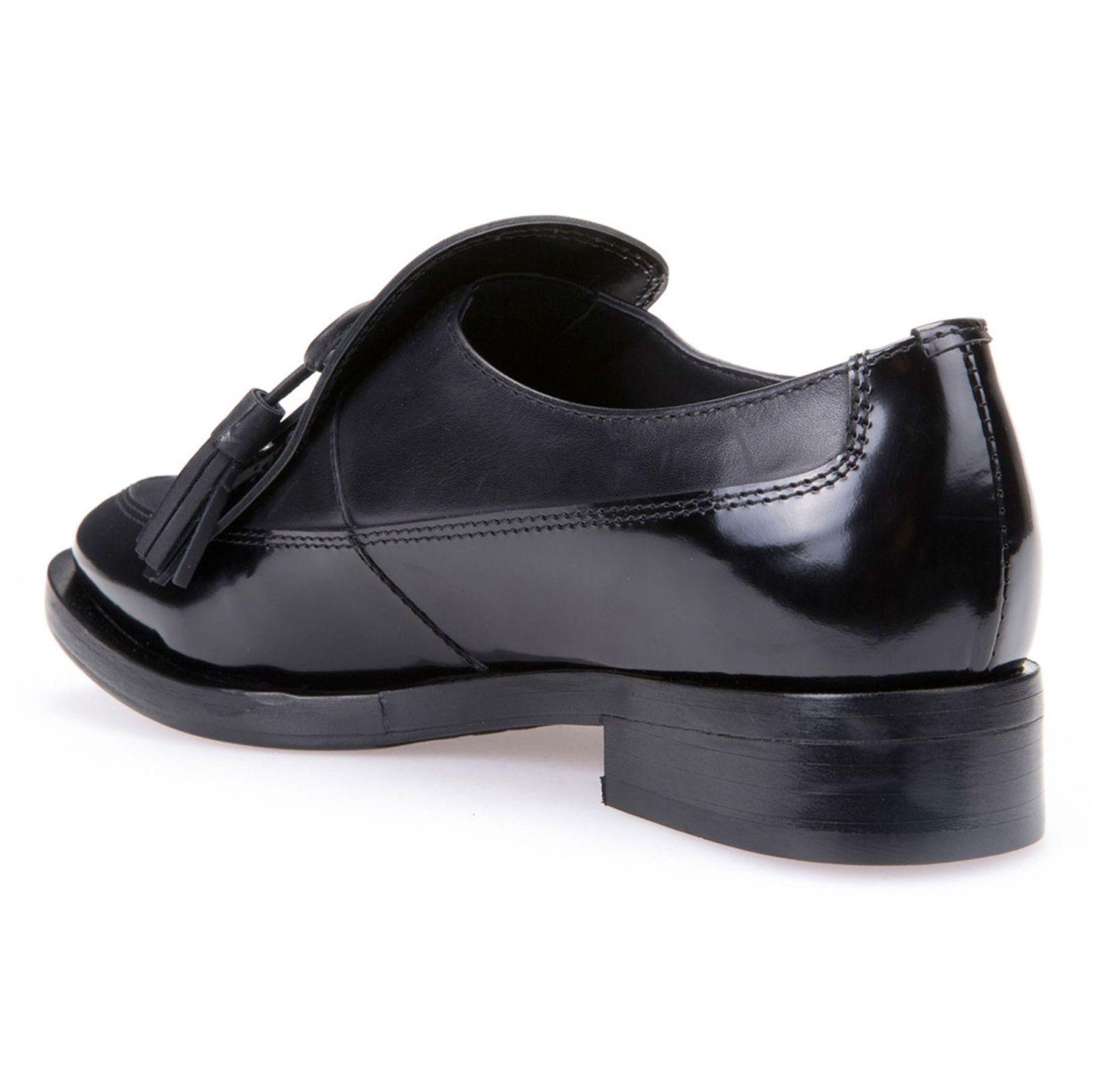 کفش تخت چرم زنانه - جی اوکس - مشکي - 5
