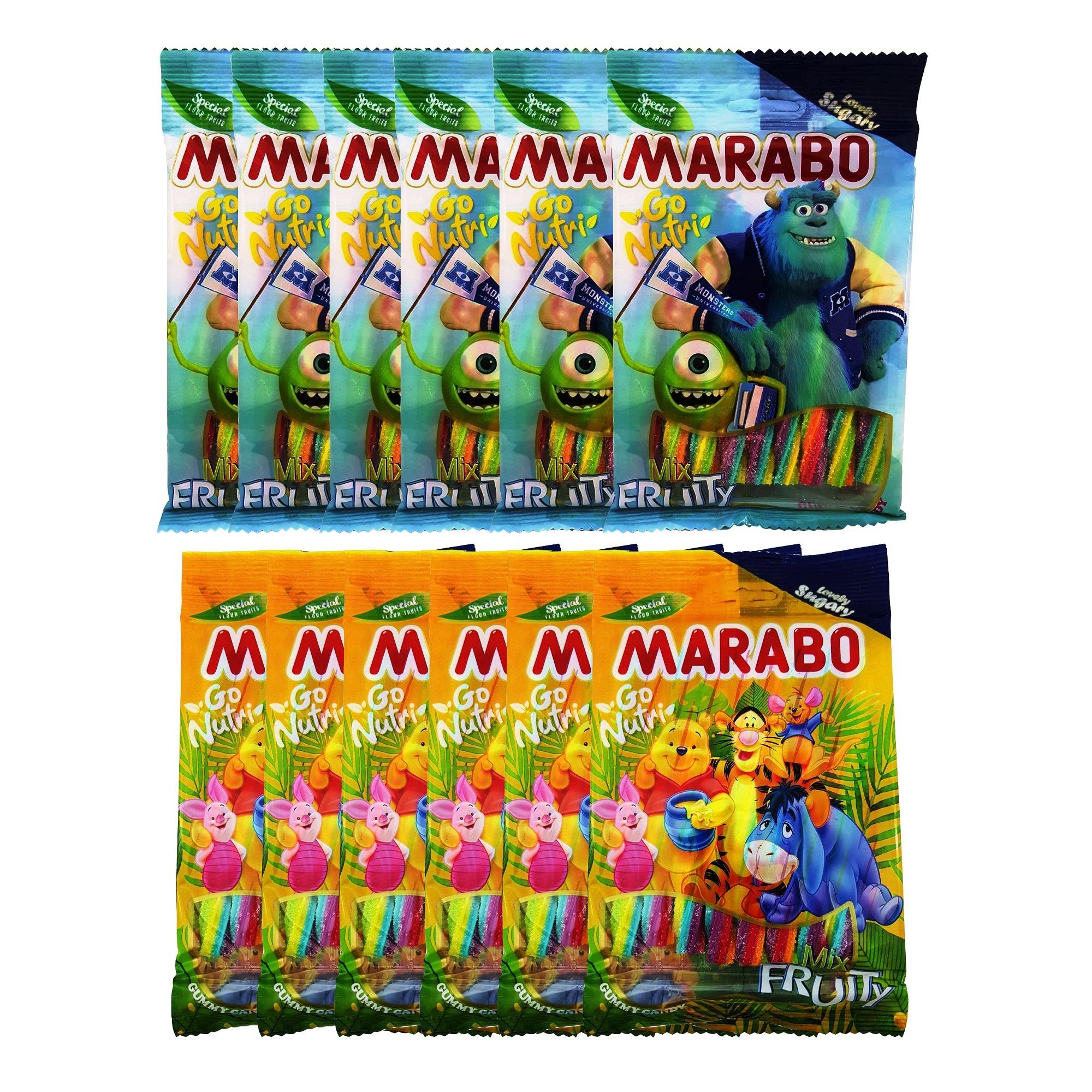 پاستیل شکری لوله ای میوه ای مارابو مقدار 120 گرم بسته 12 عددی