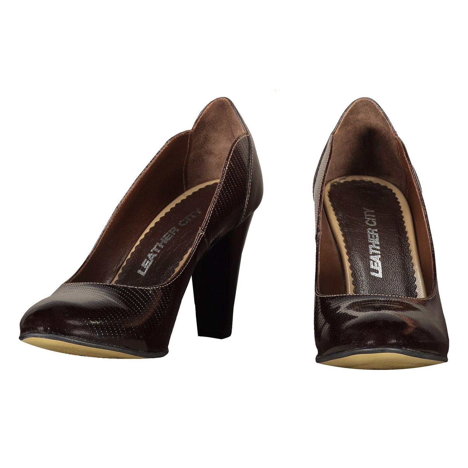کفش پاشنه بلند چرم زنانه - شهر چرم - قهوه اي - 4