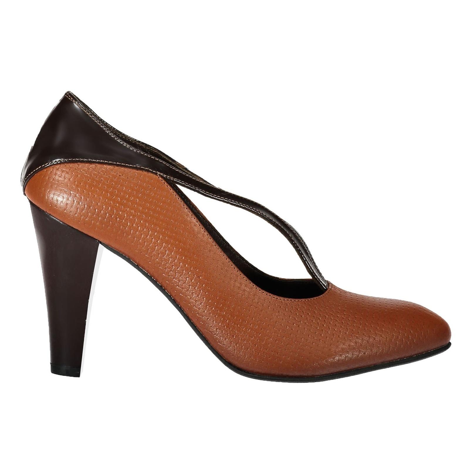 کفش پاشنه بلند چرم زنانه - شهر چرم - قهوه ای و عسلی - 6