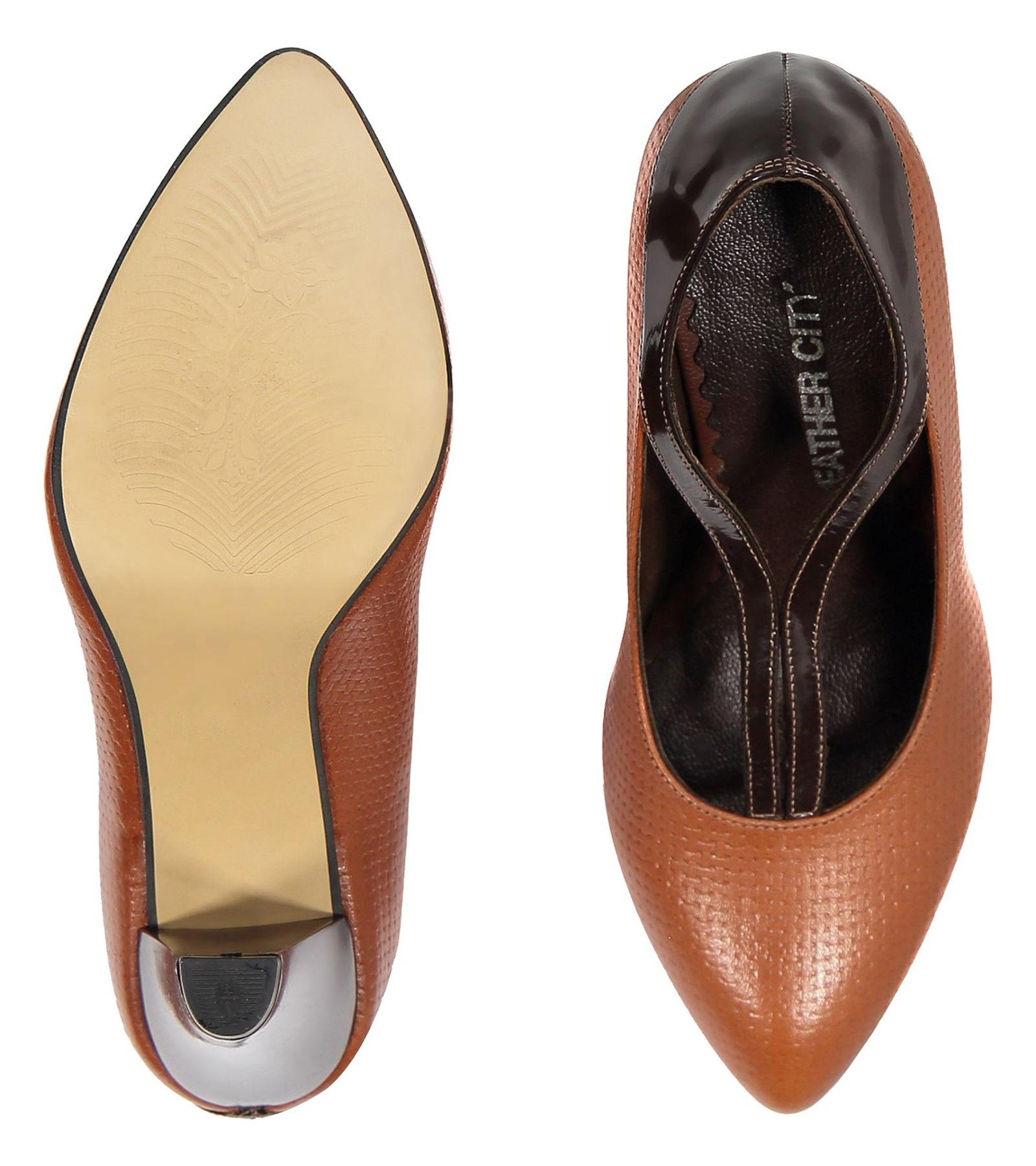 کفش پاشنه بلند چرم زنانه - شهر چرم - قهوه ای و عسلی - 1