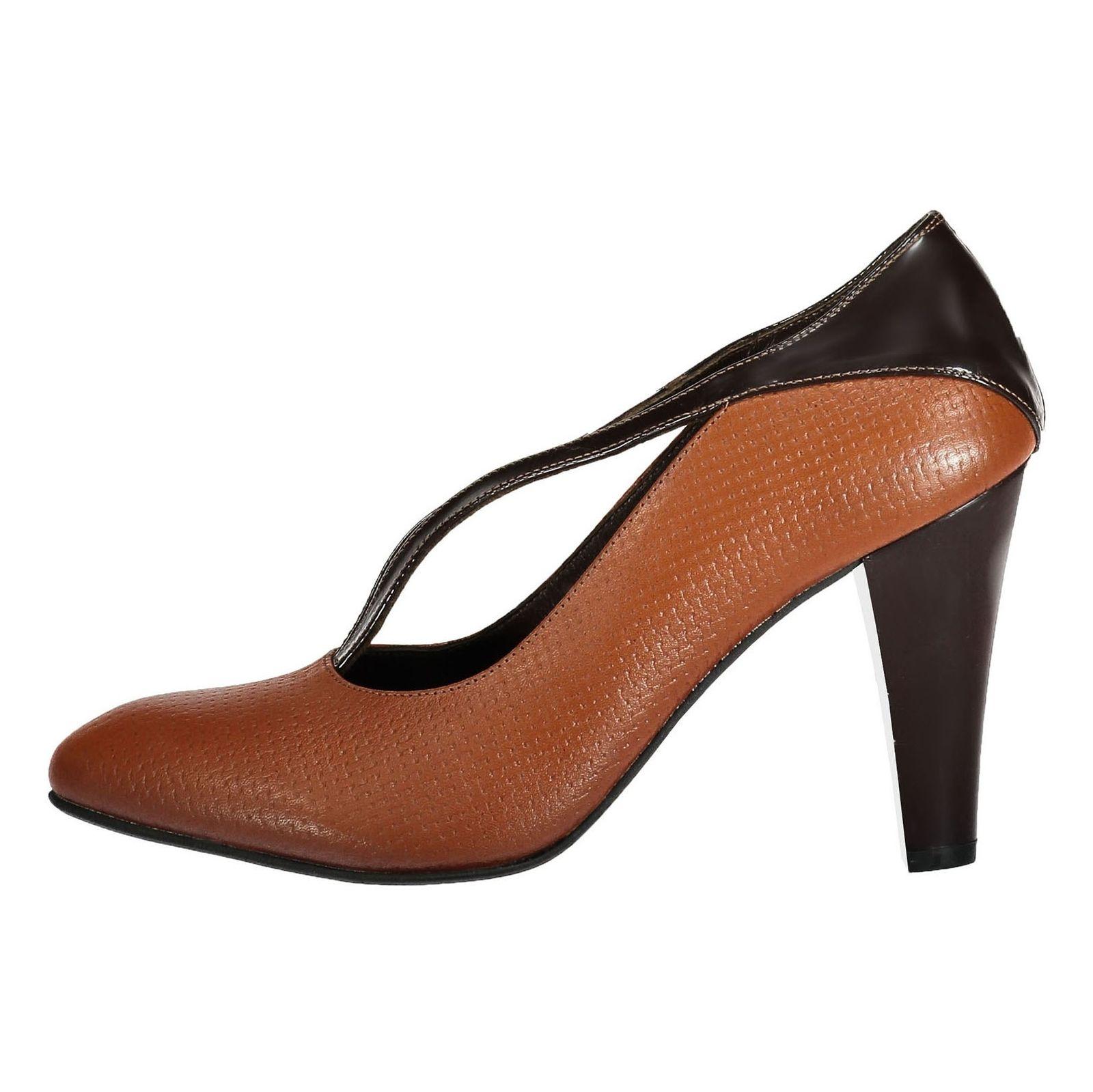 کفش پاشنه بلند چرم زنانه - شهر چرم - قهوه ای و عسلی - 2