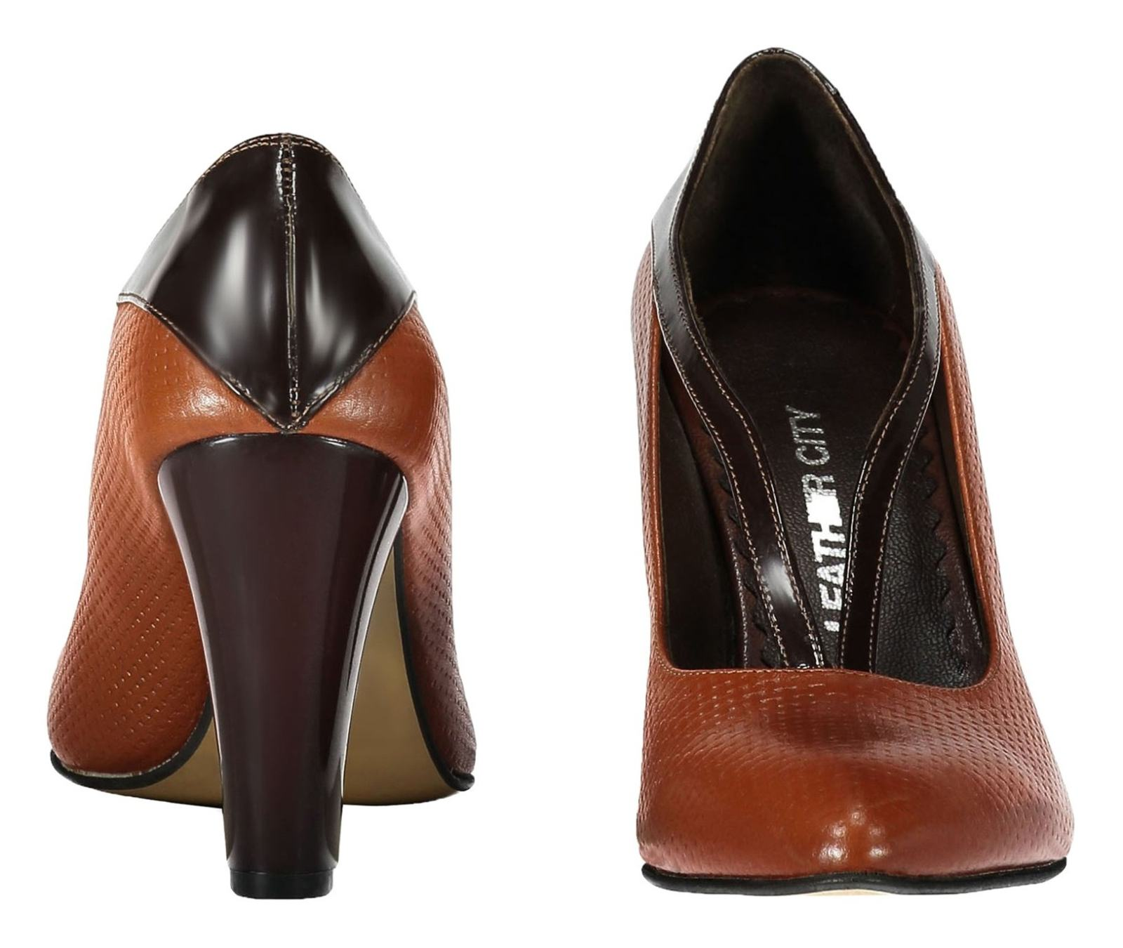 کفش پاشنه بلند چرم زنانه - شهر چرم - قهوه ای و عسلی - 3
