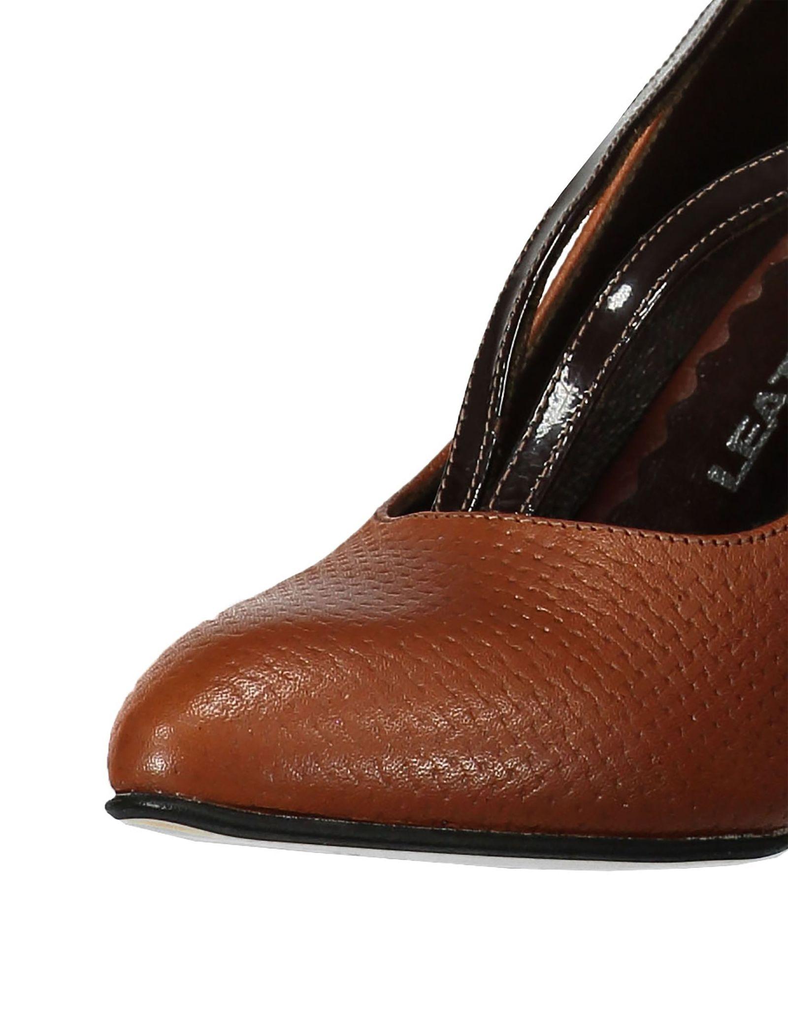 کفش پاشنه بلند چرم زنانه - شهر چرم - قهوه ای و عسلی - 4