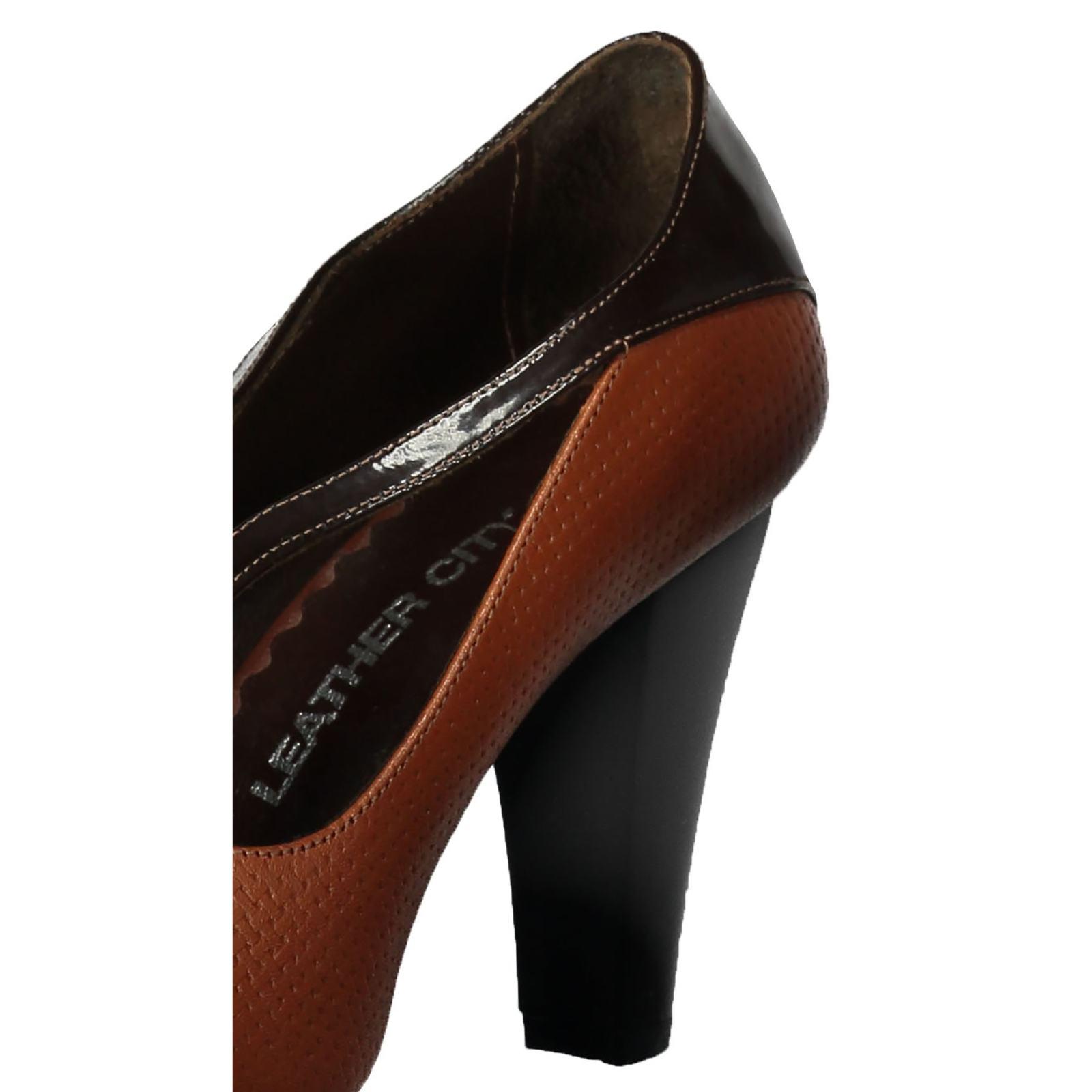 کفش پاشنه بلند چرم زنانه - شهر چرم - قهوه ای و عسلی - 5